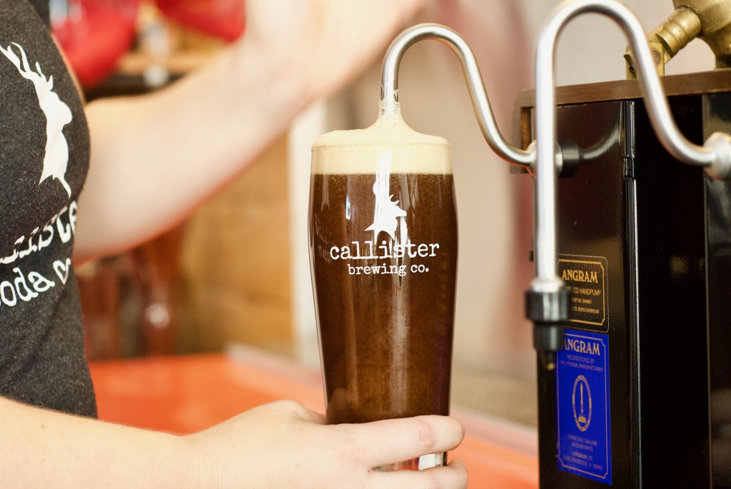 Pouring Callister Beer from tap